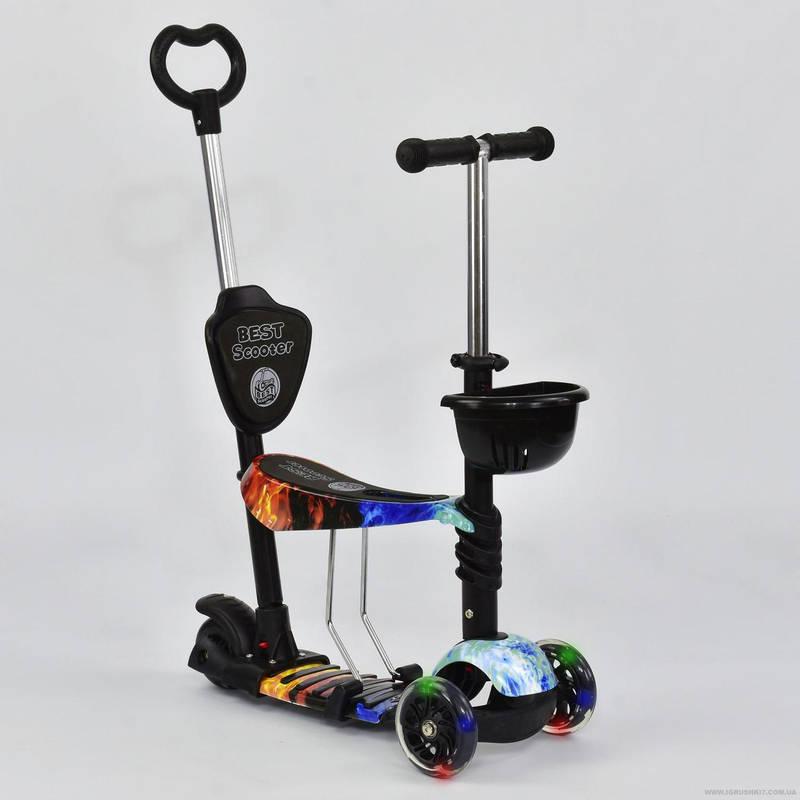 Самокат 5в1 детский трехколесный c сиденьем и ручкой Best Scooter A 24974-63020