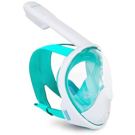 Полнолицевая панорамная маска DIVELUX для дайвинга и снорклинга S/M Салатный, фото 2