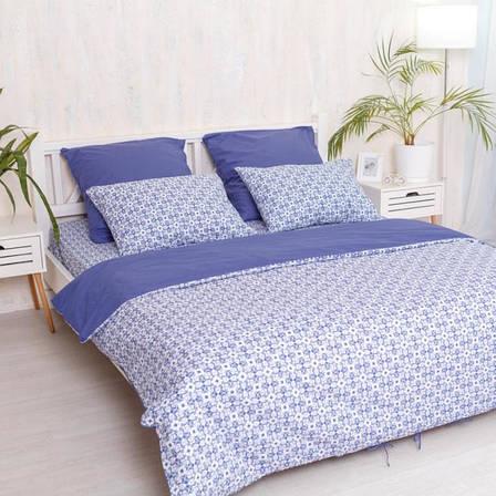 Двуспальный Евро комплект постельного белья Royal Blue, фото 2