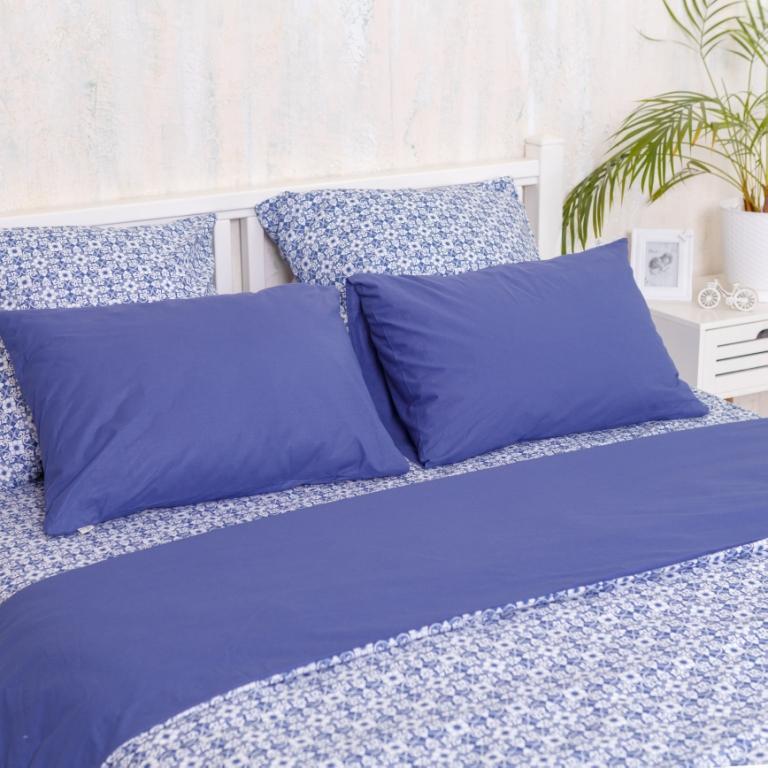 Двуспальный Евро комплект постельного белья Royal Blue