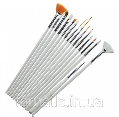 Набор кистей для росписи 15 шт, белые, L08