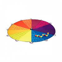 Командная игра - РАДУЖНЫЙ ПАРАШЮТ (диаметр 245 см, в комплекте 15 пластиковых шариков)