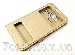 Чехол книжка с окошками momax для Lenovo A916 золотой