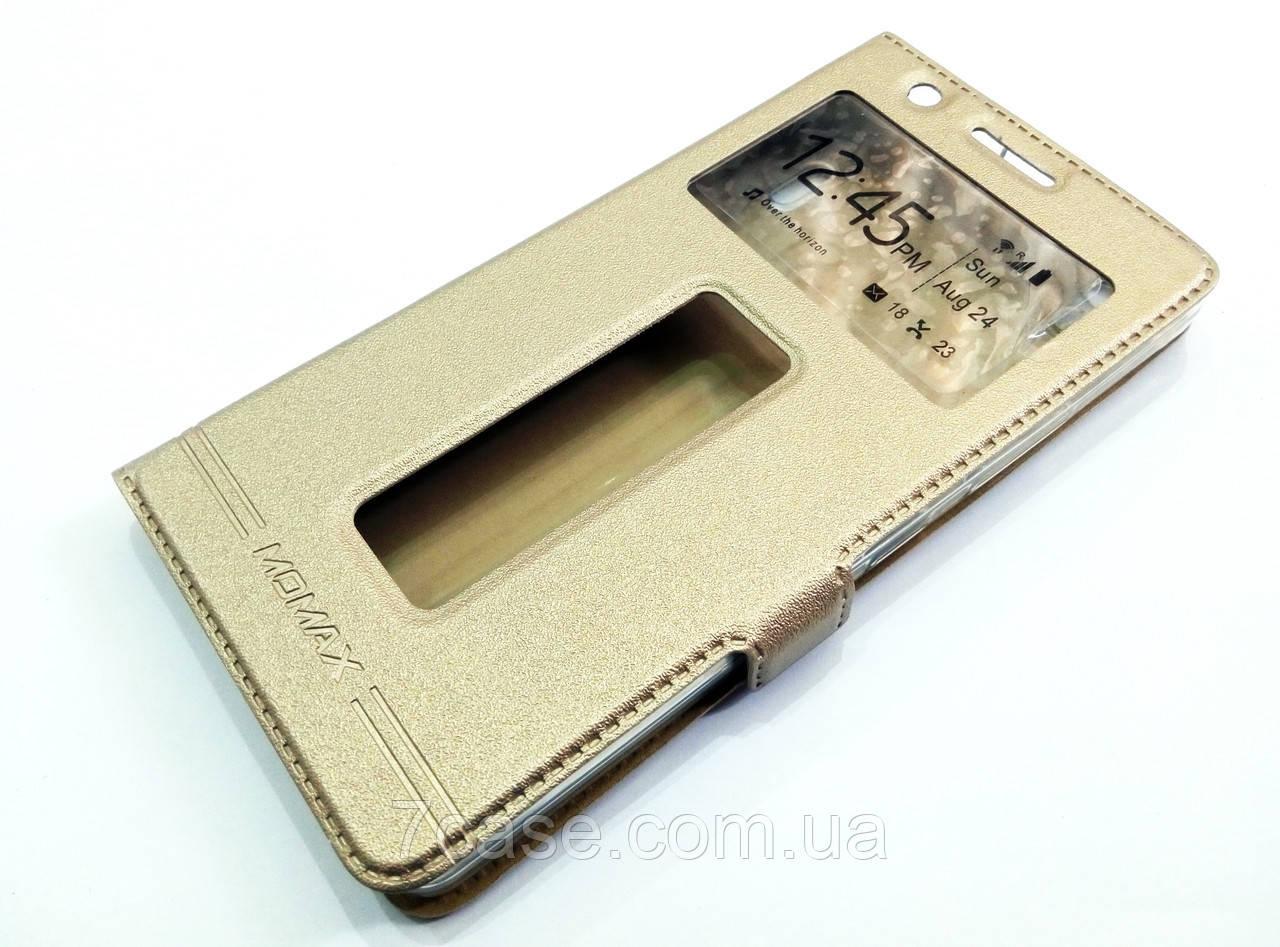 Чохол книжка з віконцями momax для Lenovo K3 Note / A7000 золотий