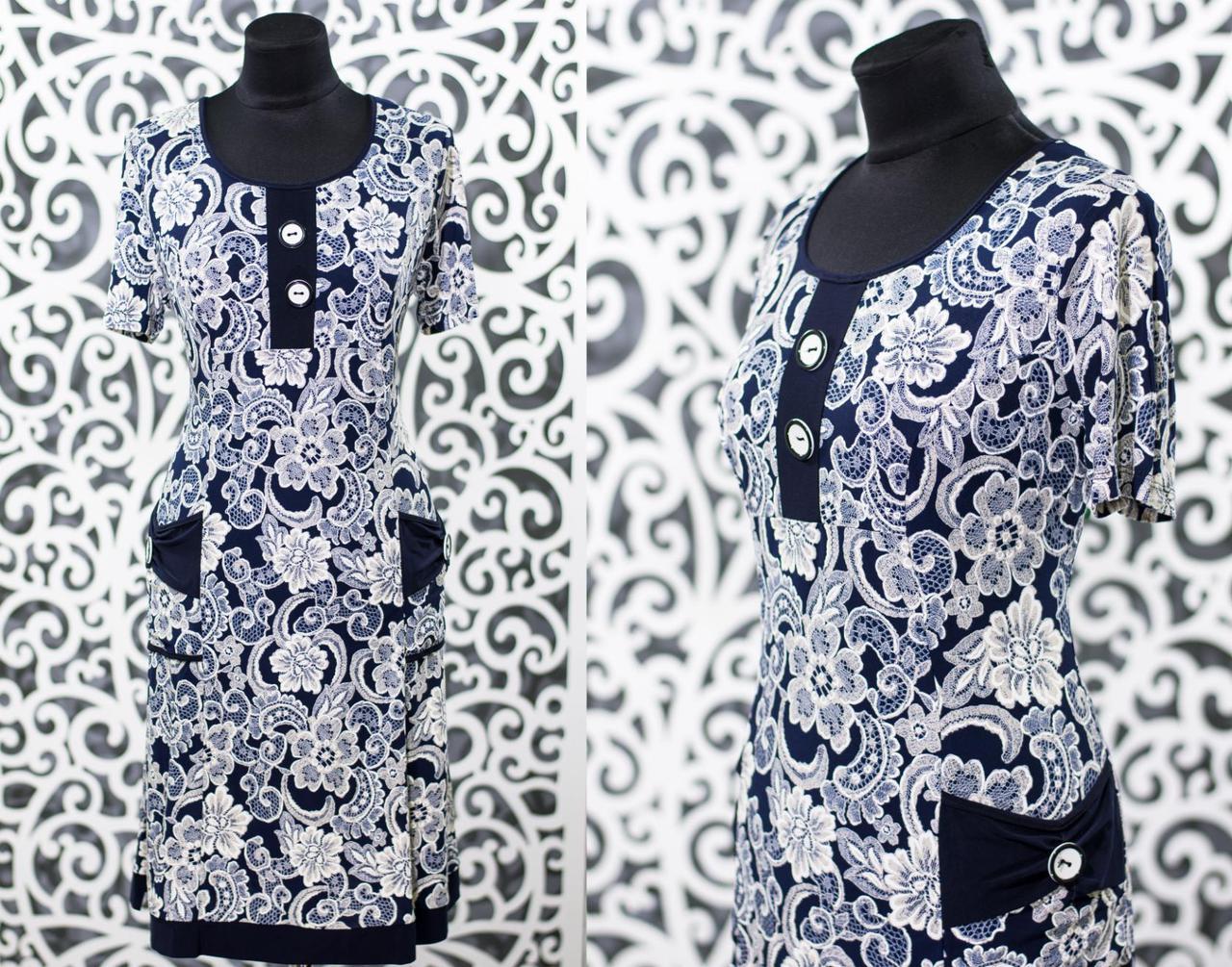 """Красивое женское платье  """"Масло+трикотаж"""" 52, 54, 56, 58 размеры батал"""