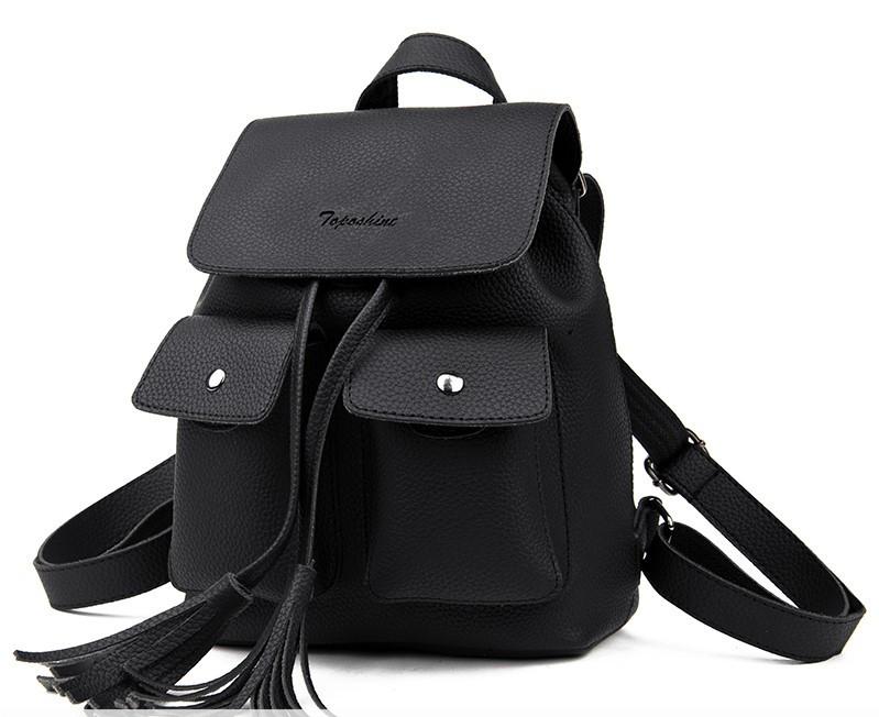 Сумка рюкзак женская с бахромой Mojoyce черная.(AV130/1)