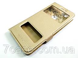 Чехол книжка с окошками momax для Huawei Nova золотой