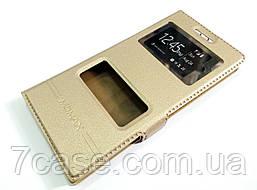Чехол книжка с окошками momax для Huawei Ascend P6 золотой