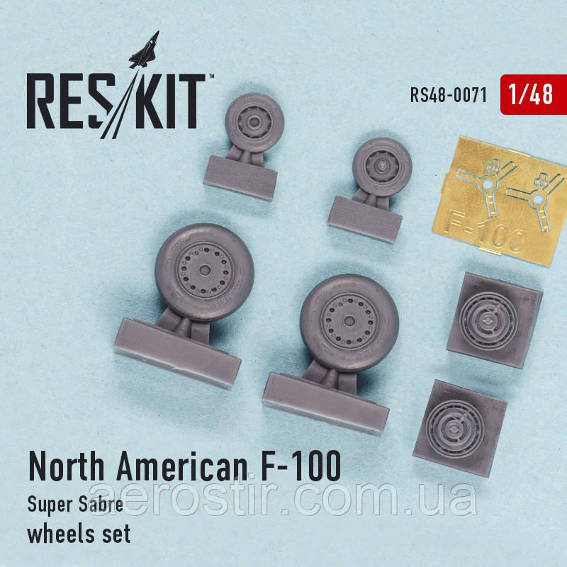 North American F-100 Super Sabre wheels set 1/48 RES/KIT 48-0071