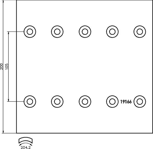 Накладки тормозные с заклепками KASSBOHRER 2 рем. (19166VWA   19166/2 21.46)