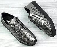 Кроссовки кожаные женские никель, кожаные женские кроссовки от производителя модель АНЖ41-2, фото 1