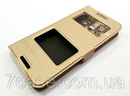 Чехол книжка с окошками momax для HTC Desire 610 золотой