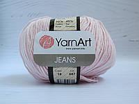 Пряжа для вязания YarnArt Jeans цвет 18 светло розовый, полухлопковая пряжа для вязания игрушек, детская пряжа