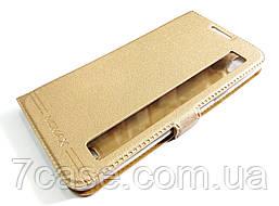 Чехол книжка с окошком momax для LG X power K220DS золотой