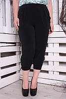 Капри большого размера Гаваи черные, трикотажные капри большого размера, капри женские