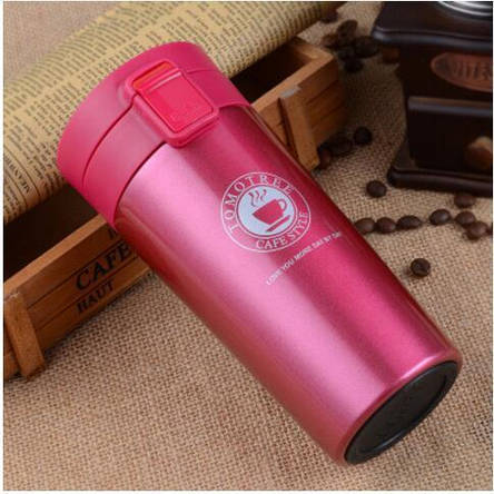 Термокружка вакуумная для горячих и холодных напитков 380 мл красная, фото 2