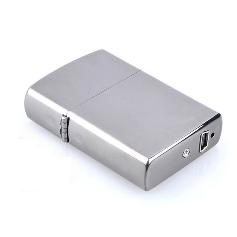 Зажигалка  электроимпульсная  SUNROZ, портативная перезаряжаемая USB зажигалка, Серебристая