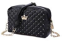 Женская сумка с короной Crown, красивая сумочка на плечо, цвет черный