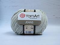 Пряжа для вязания YarnArt Jeans цвет 49 светло серый, полухлопковая пряжа для вязания игрушек, детская пряжа