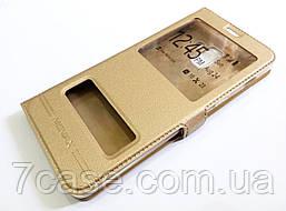 Чехол книжка с окошками momax для Samsung Galaxy A8 Plus A730f (2018) золотой