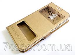 Чехол книжка с окошками momax для Samsung Galaxy J2 Pro j250f (2018) золотой
