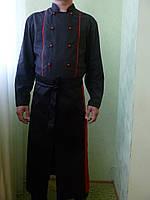 Поварской фартук черный с красной полосой. Ткань: саржа.