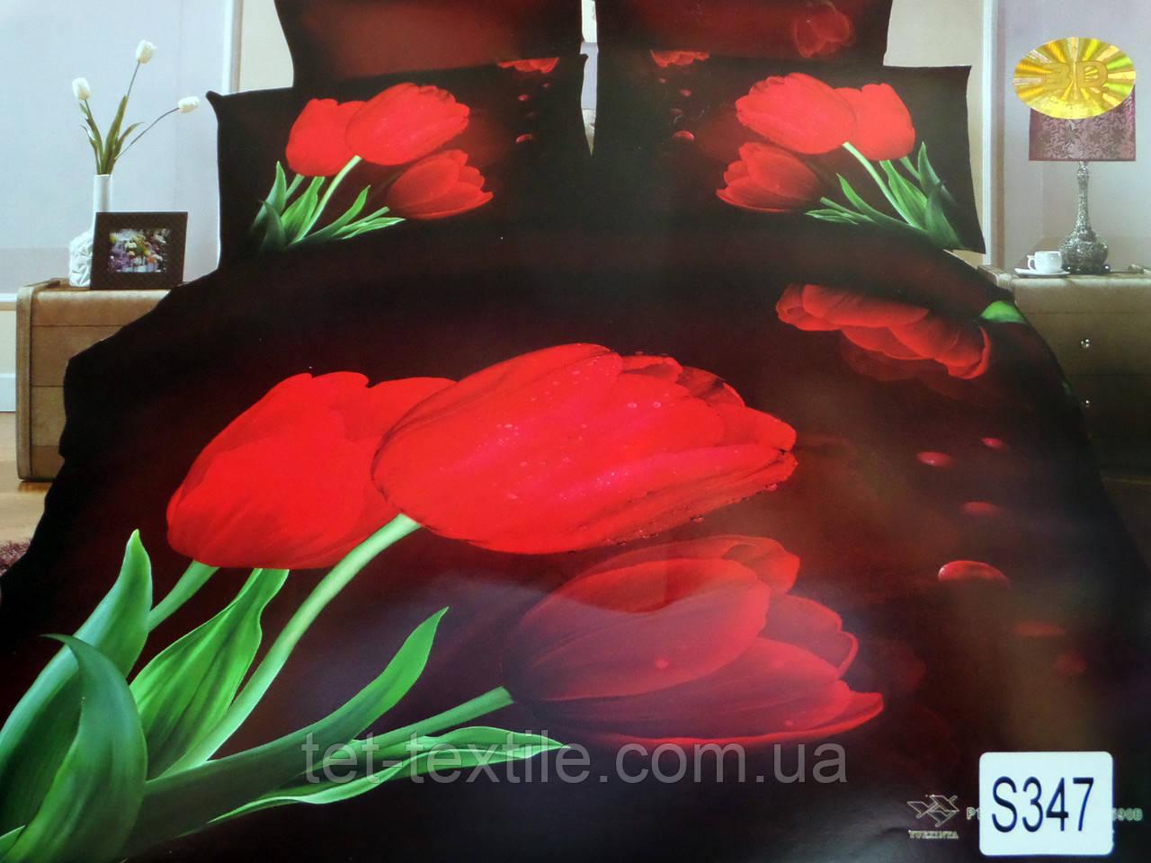 Комплект постельного белья Elway Premium 3D Сатин Евро (Подарочная упаковка)