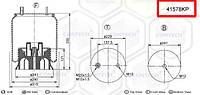 Пневмоподушка (с пласт стаканом) FRUEHAUF шпилька-воздух, 4157NP08, W01M586317, 90527233 (M078580 | 41578KP)