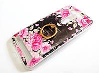 Чехол с кольцом для Asus Zenfone 2 Laser ZE500KL / ZE500KG силиконовый с рисунком цветы розы темный