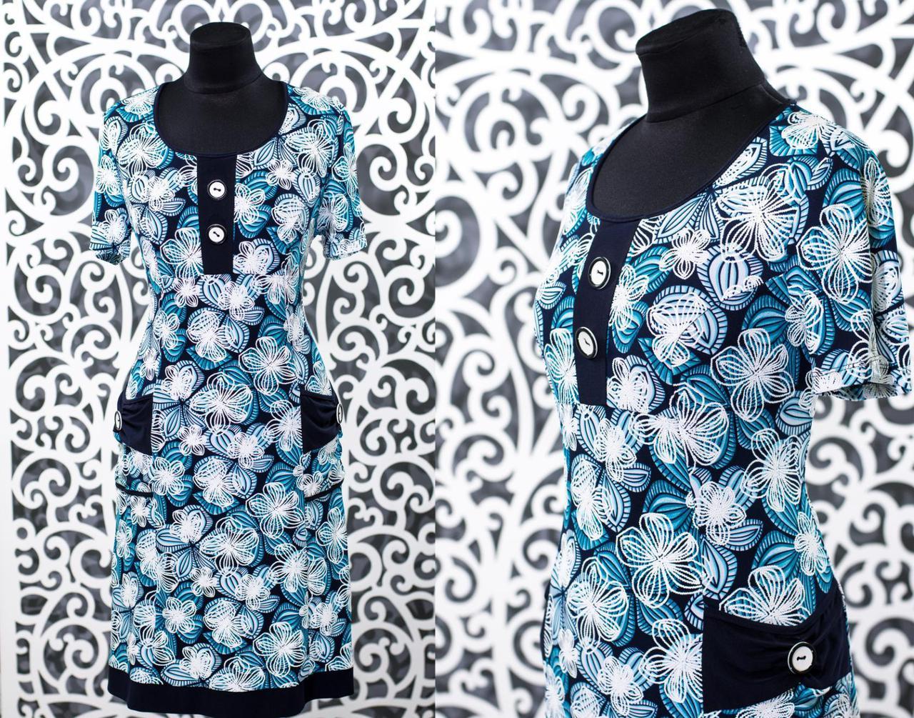 """Красивое женское платье с рельефным набивным рисунком ткань """"Масло+трикотаж"""" 52, 54, 56, 58 размеры батал"""