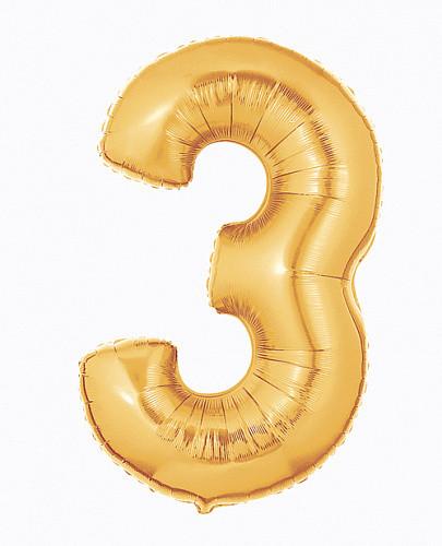 Шар цифра 3 золото с гелием, высота 1 метр