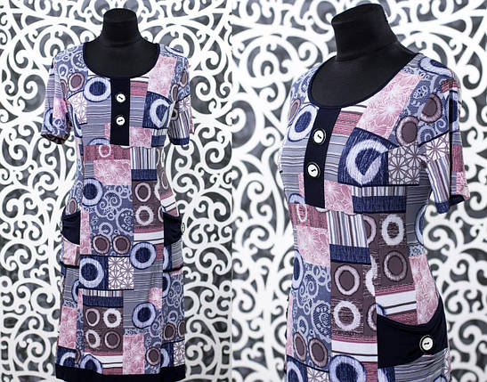 """Стильное женское платье с пуговками на груди ткань """"трикотаж масло"""" 52, 54, 56, 58 размер батал, фото 2"""