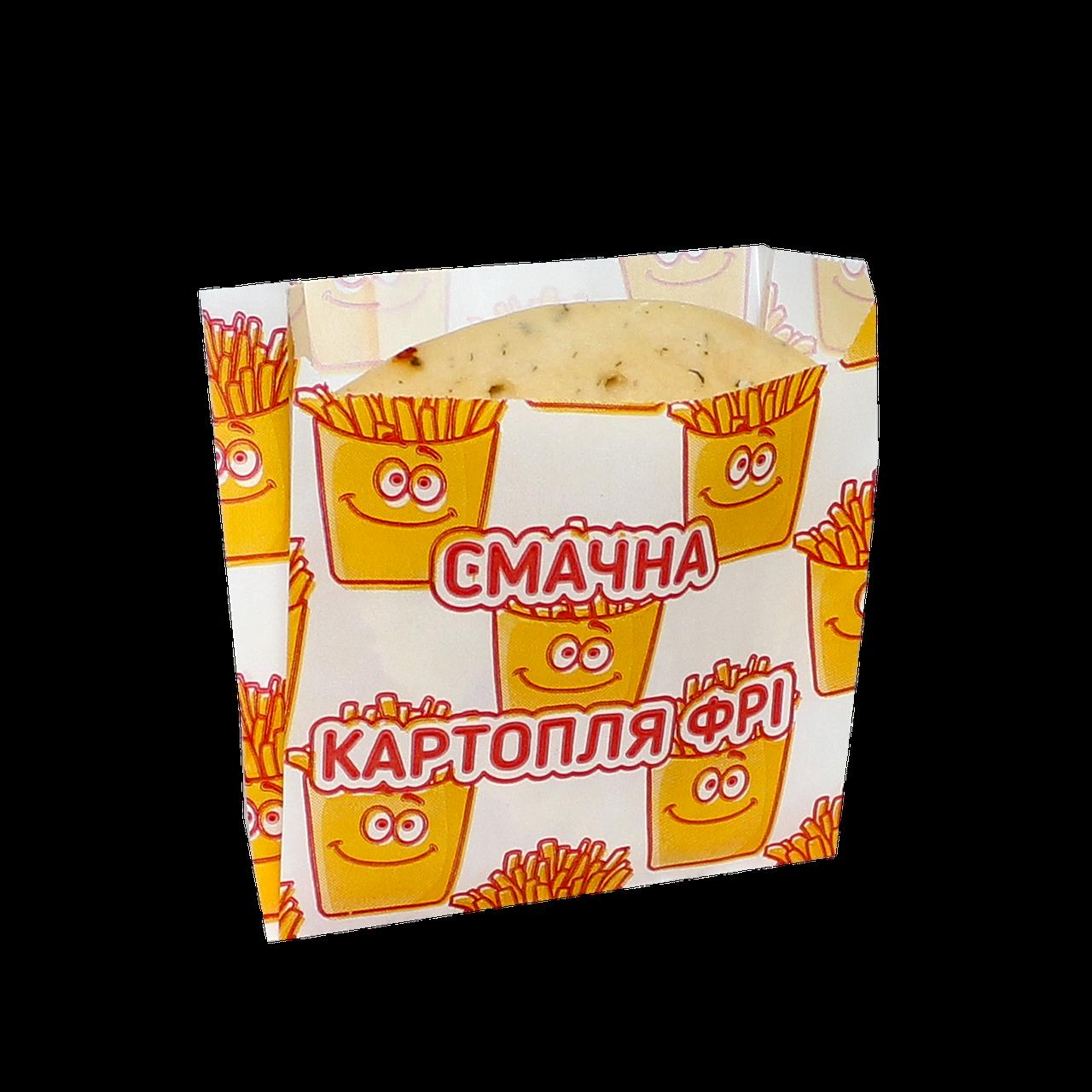 """Пакет бумажный жиростойкий """"Картопля фрі"""" 105х100х50мм (ВхШхГ) 55г/м² 100шт (1671)"""