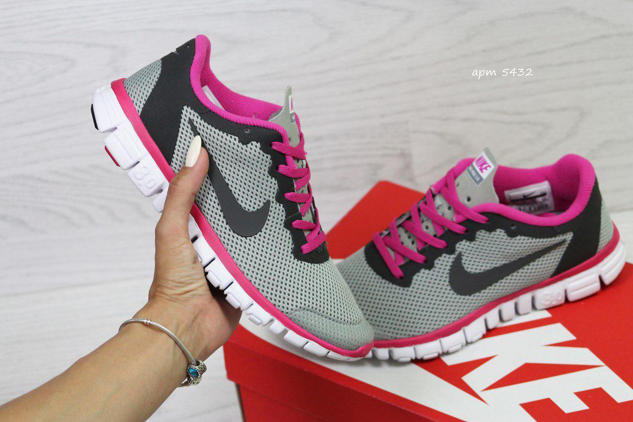 ceeb1124 Кроссовки в стиле Nike Free 3.0 (серые с розовым) летние кроссовки найк nike  5432