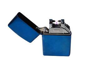 Электроимпульсная зажигалка SUNROZ, Портативная электронная аккумуляторная USB зажигалка, Синяя