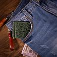 """Зажим для денег компактный кожаный на кнопке Shabby """"Поехали в путешествие!"""". Цвет зеленый, фото 5"""