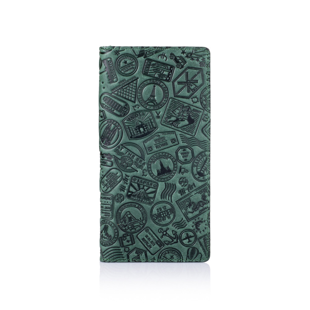 """Бумажник кожаный универсальный на внутренних кнопках Shabby """"Поехали путешествовать!"""". Цвет зеленый"""