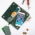 """Бумажник кожаный универсальный на внутренних кнопках Shabby """"Поехали путешествовать!"""". Цвет зеленый, фото 6"""
