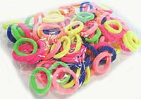 Резинки для волос из микрофибры разноцветные 100 шт