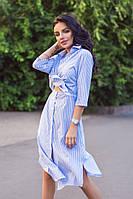 Платье рубашка летнее с поясом в полоску