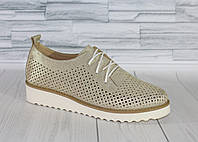 Стильные золотистые туфли на танкетке.  Натуральная кожа 1927, фото 1