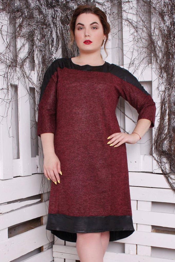 Платье Ангора Люрекс марсала