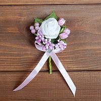Бутоньерка бело-розовая