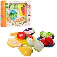 Игровой набор продукты на липучке фрукты или овощи 6 шт, досточка, нож, TP222-24
