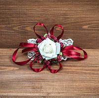 Свадебная бутоньерка на руку цвета марсала (арт. BUT-H-010)