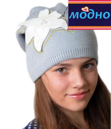 Зимняя шапка на флисовой подкладке для девочки подростка
