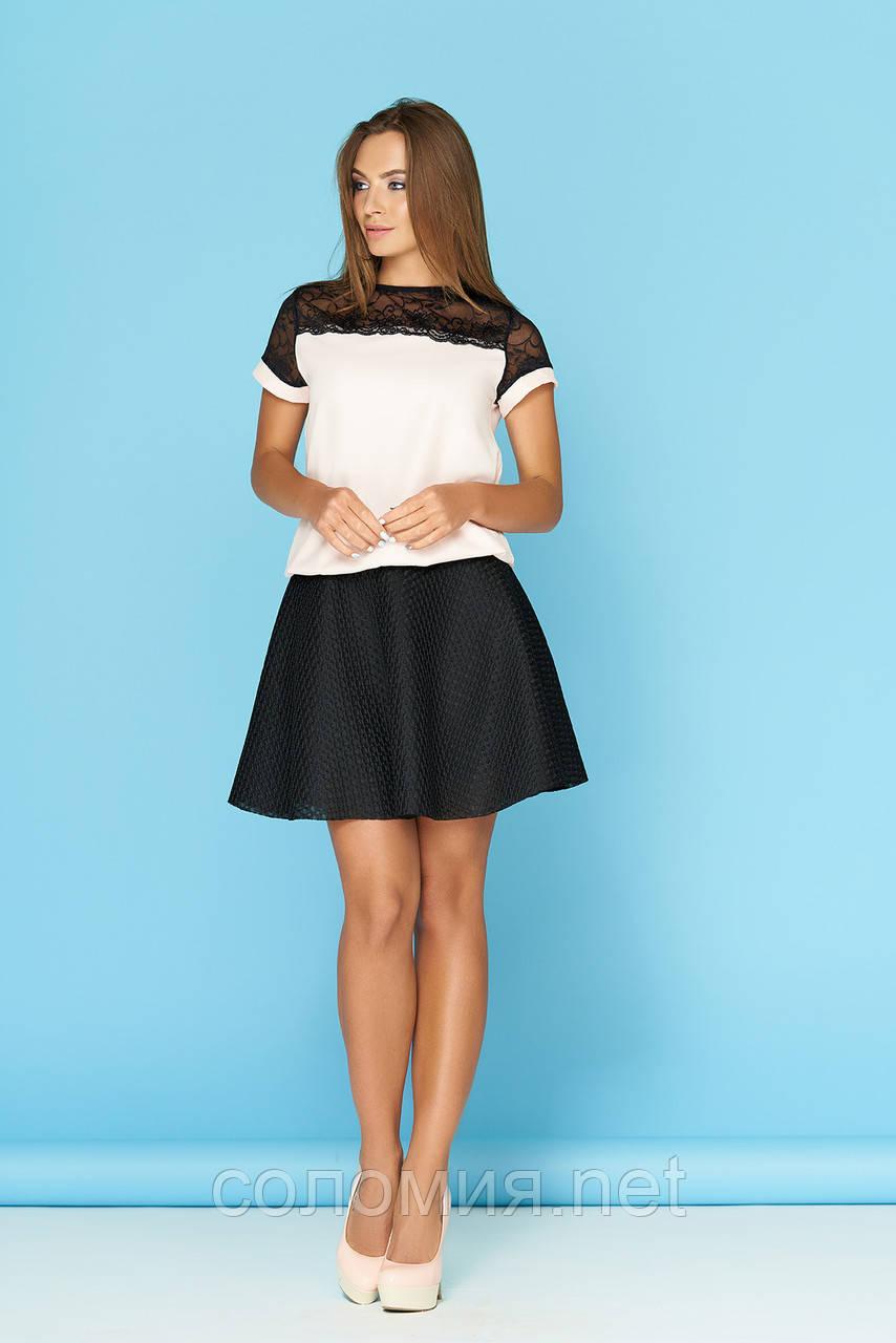 Костюм состоящий из блузы с кокеткой и юбки-клеш 42-48р