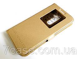 Чехол книжка с окошком momax для LG G2 золотой