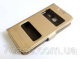 Чехол книжка с окошками momax для Samsung Galaxy J1 mini j105 золотой