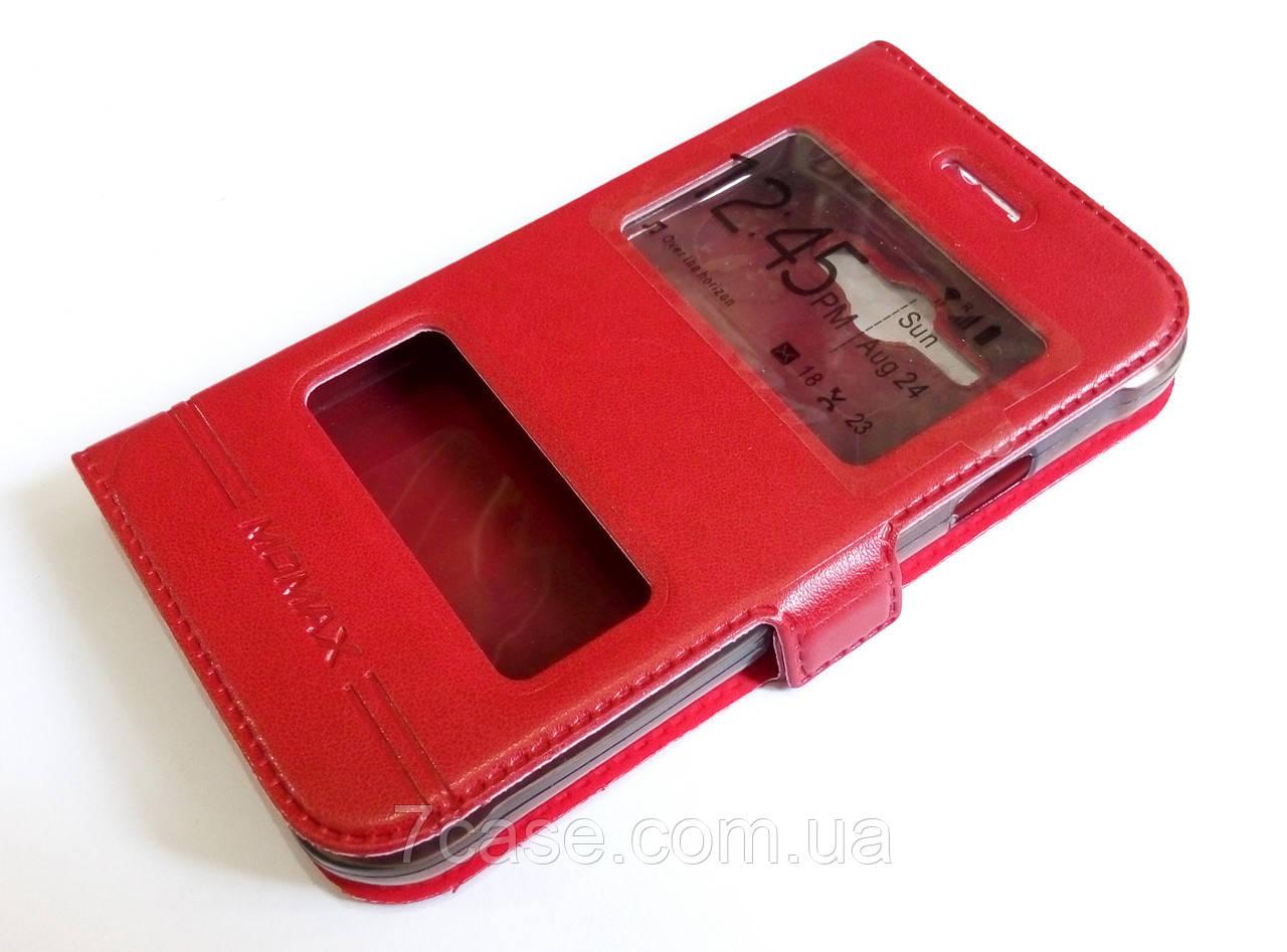 Чохол книжка з віконцями momax для Samsung Galaxy J1 Ace моделі j110 червоний